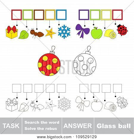 Vector game. Search the word. Find hidden word Glass ball