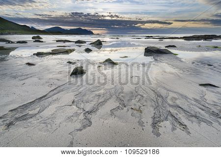 Sundown Over A Beach On Lofoten Archipelago