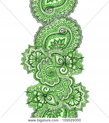 Eastern indian design with paisley. Green spring banner frame.