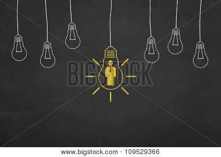 Business Human Resource Idea Concept on Blackboard