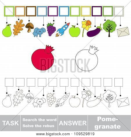 Vector game. Search the word. Find hidden word Pomegranate