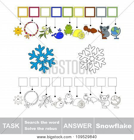 Vector game. Search the word. Find hidden word Snowflake