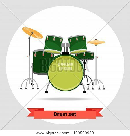Drum set isolated vector illustration
