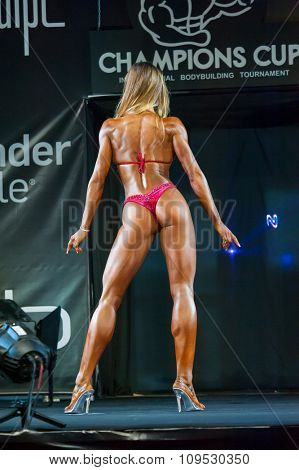 MOSCOW, RUSSIA - NOVEMBER 21, 2015: Natalia Lugovskih participates in Bodybuilding Champions Cup during SN Pro Expo Forum 2015 on November 21, 2015 in Moscow, Russia