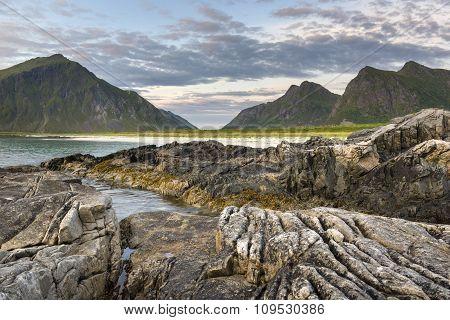 Rocky Coastline On Lofoten Islands,