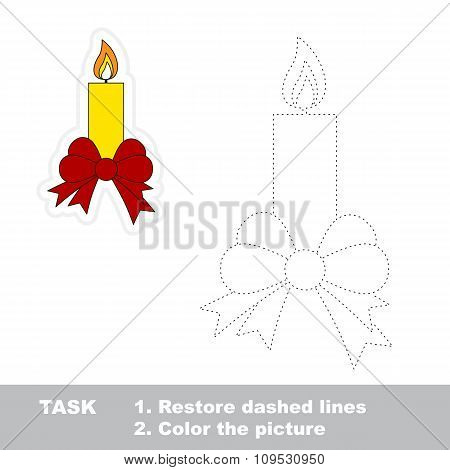 Xmas candle with bow to be traced. Vector trace game.