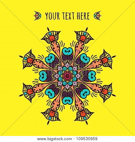 Meditation. Ornament beautiful card with mandala. Geometric circle element made in vector. Perfect c