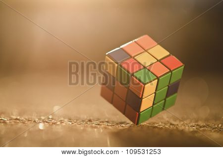 Rubik cube on the ground