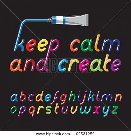 Color paint font and paint tube. Liquid glossy bright color letters. Vector illustration