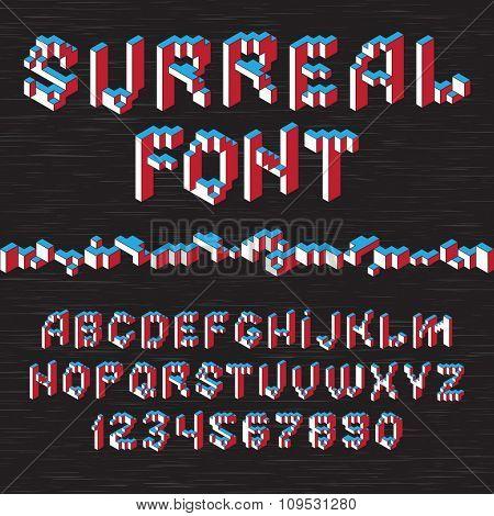 Color 3D isometric font alphabet on dark background. Vector illustration