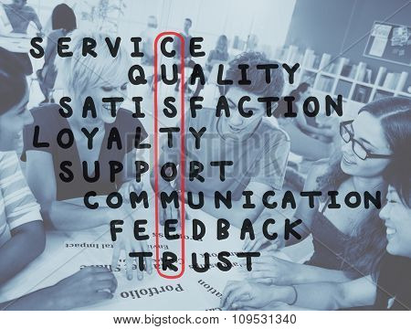 Customer Service Support Satisfaction Crossword Puzzle Concept