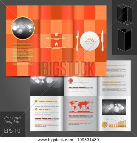 Brochure Template Design With Plate, Fork And Knife