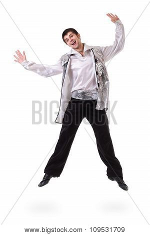 Young and stylish modern ballet dancer jumping, isolated on white. Full body.