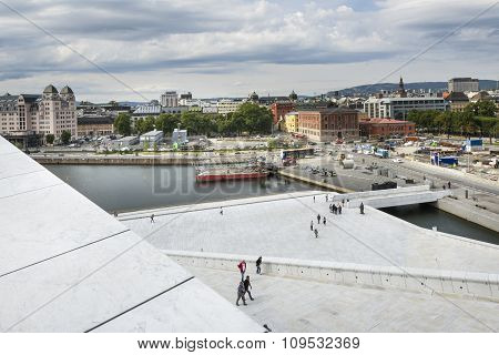 Aerial View Of Oslo From The Opera House