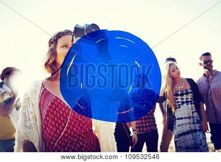 Vacation Summer Holidays Blue Marker COncept
