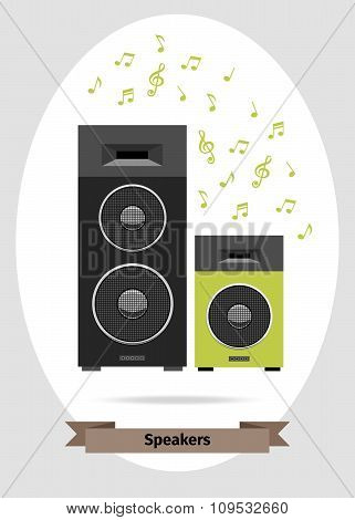 Musical speakers vector isolated