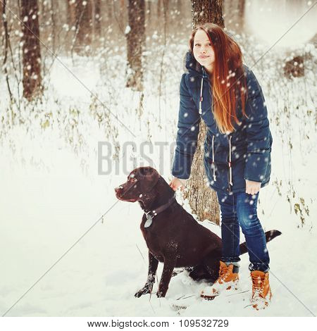 Female Walking With Labrador Dog In Forest