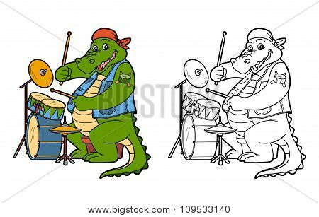 Coloring Book For Children: Crocodile And Drum
