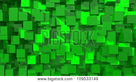 3D Green Area Background Cube Abstract Pattern