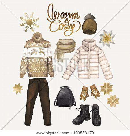 Watercolor winter clothes