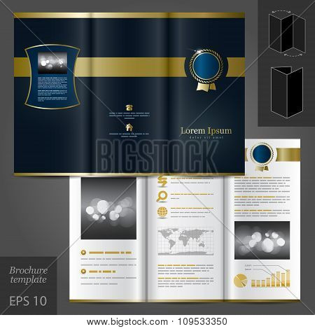 Brochure Template Design With Classical Element
