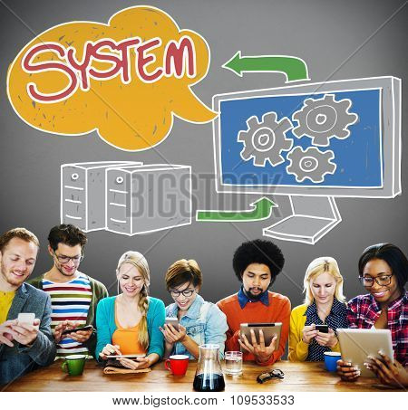 System Connection Technology Data Networking Concept