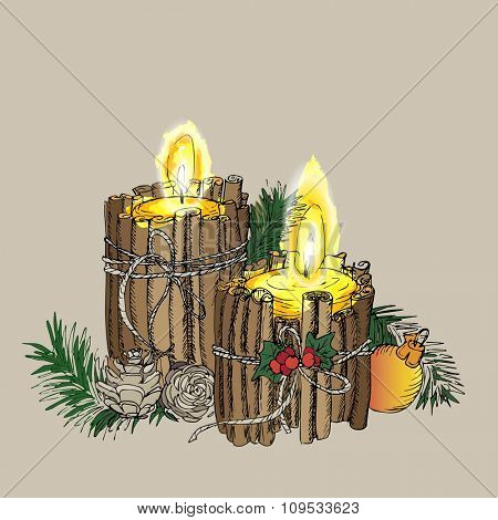 Christmas Candle  in doodle style black on white coloring for creative invitation Card. Vector background