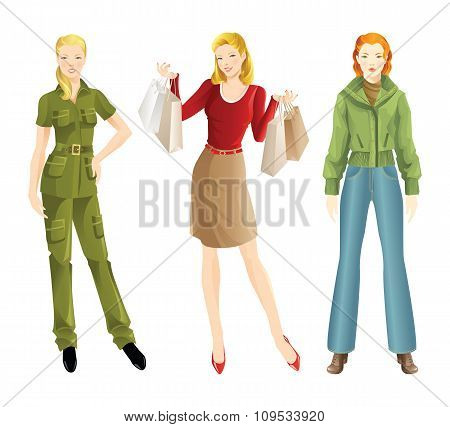 Girl in different clothes