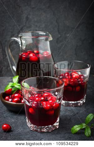 Refreshing Cranberry Drink And Fresh Berries
