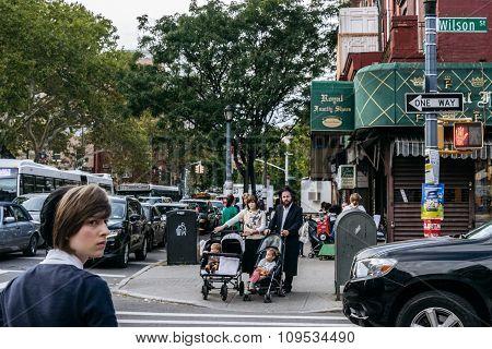 Jewish Hassidic Pair Cross The Street.
