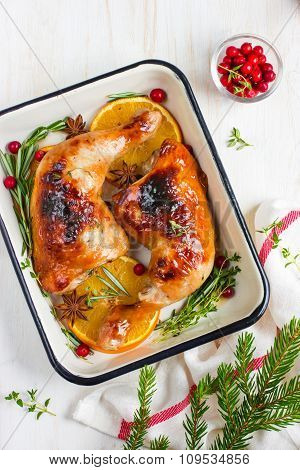 Roasted Chicken Leg With Orange And Spicy Herbs