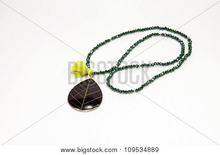 Green color handmade necklace