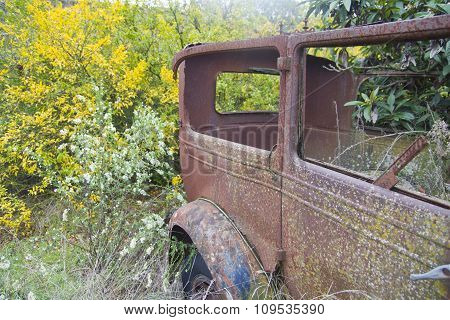 Old Car, Abandoned In The Wood