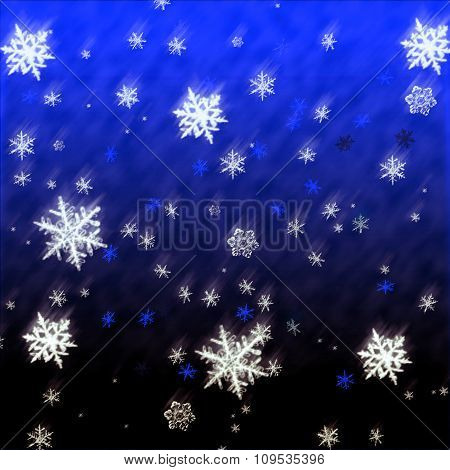 Falling Snowflakes Christmas Card. Snow, Winter Pattern Background Illustration.