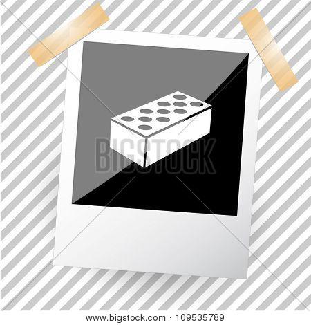 hollow brick. Photoframe. Raster icon.