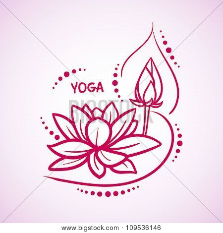 Lotus flower pattern line on isolated background. Logo for Yoga Studio, Spa, India style. Vector ill