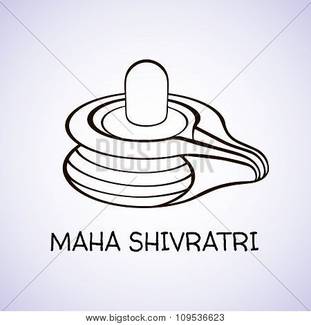 Linear Lingam, Hindu deity Shiva used for worship in temples, with Happy Shivratri text with effects