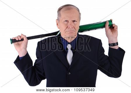 Angry businessman with baseball bat on white