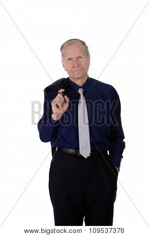 businessman with suit on his shoulder