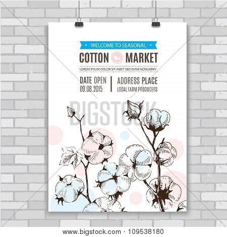 Poster with hand draw stems of cotton plants.