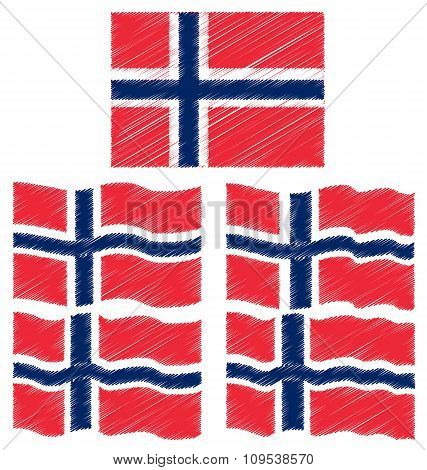 Flat And Waving Hand Draw Sketch Flag Of Norway