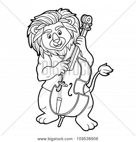 Coloring Book For Children: Lion And Cello