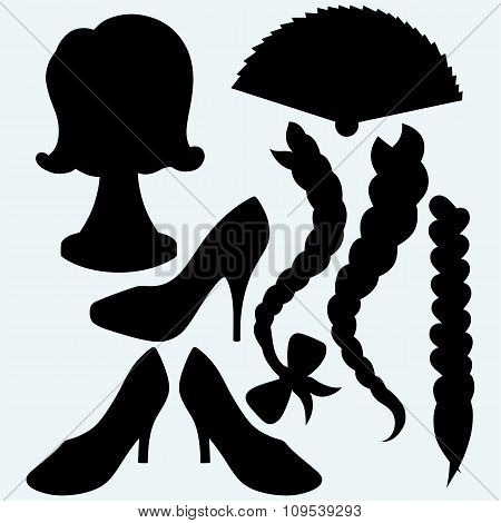 Japanese folding fan, heel shoes, wig and female plait
