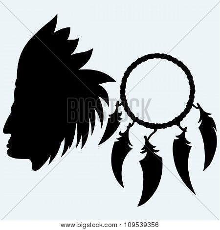 Portrait of american indian and dream catcher
