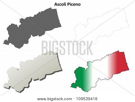 Ascoli Piceno blank detailed outline map set