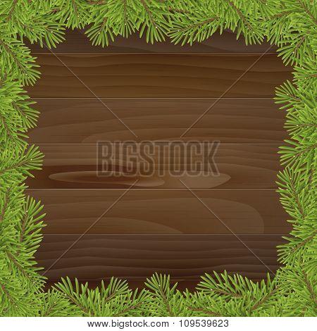Christmas Tree Frame Isolated On Wood Plank Background