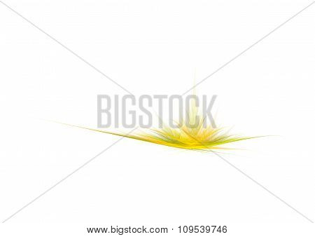 Bright Yellow Flower Or Grass, Creative Abstract Fractal Illustration, Isolated On White Background