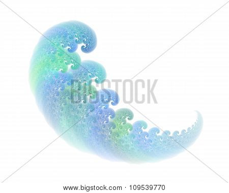 Abstract Fractal Object With Waves Or Feather Texture, Isolated On White Background