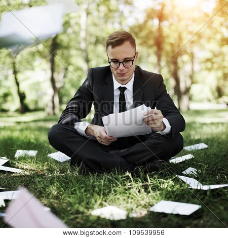 Businessman Stressful Sadness Failure Concept