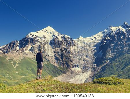 Backpacker in mountains